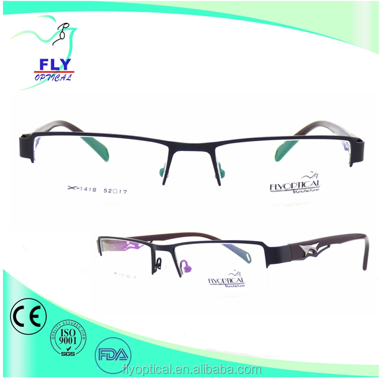 latest fashion design model half metal optical glasses spectacle frame wholesale