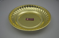 30cm golden plating metal serving tray/stainless steel tray / punched fruit charger plate