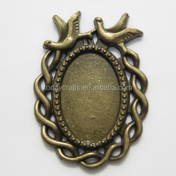 20x13.5mm silver gold bronze plated two bird Decorative patterns blank pendant setting,oval bezel pendant setting