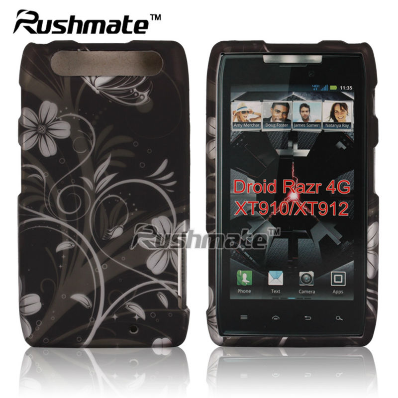 For Motorola Droid Razr 4G XT910 XT912 Black Silver Plastic Design Hard Shell Case Cover