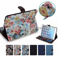 Gold Supplier in Alibaba Girl Style Flower Pattern Leather Stand Case for iPad Mini 1/2/3