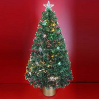 Colorful Light Fiber Optic Christmas Trees with Plastic Ornaments