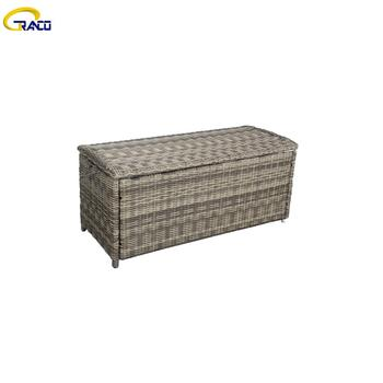 Garden wicker hot selling  cushion storage box all weather rattan wicker waterproof outdoor cushion box