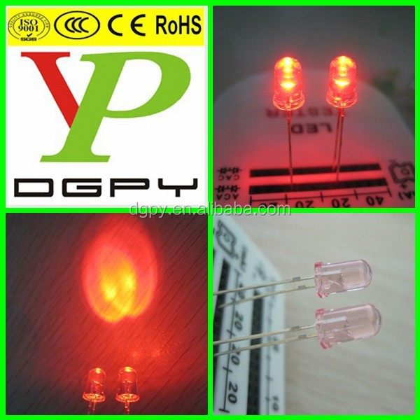 Factory New 5mm red single color led with pink transparent lens ( CE & RoHS Compliant )