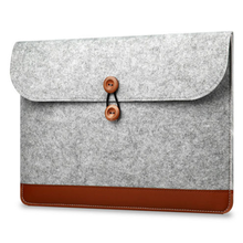 Fashion office felt laptop sleeve case bag with leather design