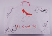 Hot sale recyclable white kraft paper bags in cheap price with red twisted handle