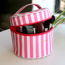 women pink PU handle travel cylinder round Cosmetic Bags cases