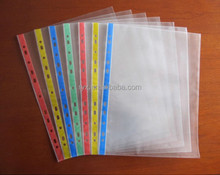 Plastic A4 FC PP document holder 11 holes clear sheet protector for office ring binder