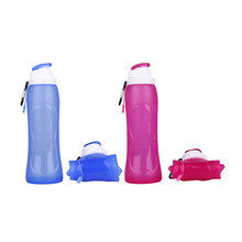Promotion custom Eco-friendly 500ml travel <strong>sport</strong> drinking foldable silicone collapsible water bottle with PP lids