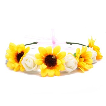 Wholesale custom elastic flower headband wreath bridesmaid flower hair accessories for wedding