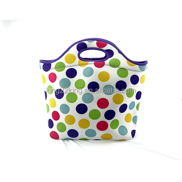 Dot printing wholesale low price neoprene ladies bag in China