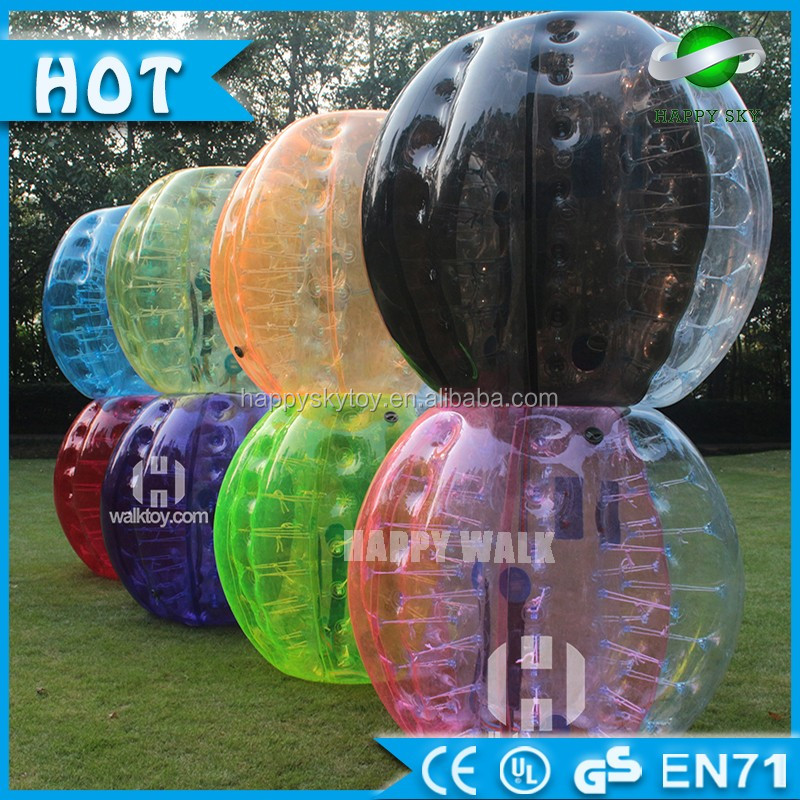 New design bumper soccer half clear half color human body suit for football bubble