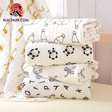 soft fabric printed baby blankets 100% cotton muslin swaddle