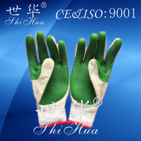 construction safety heavy duty latex gloves cotton lined rubber gloves