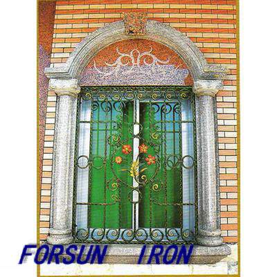Decorative Wrought Iron Window with Bar