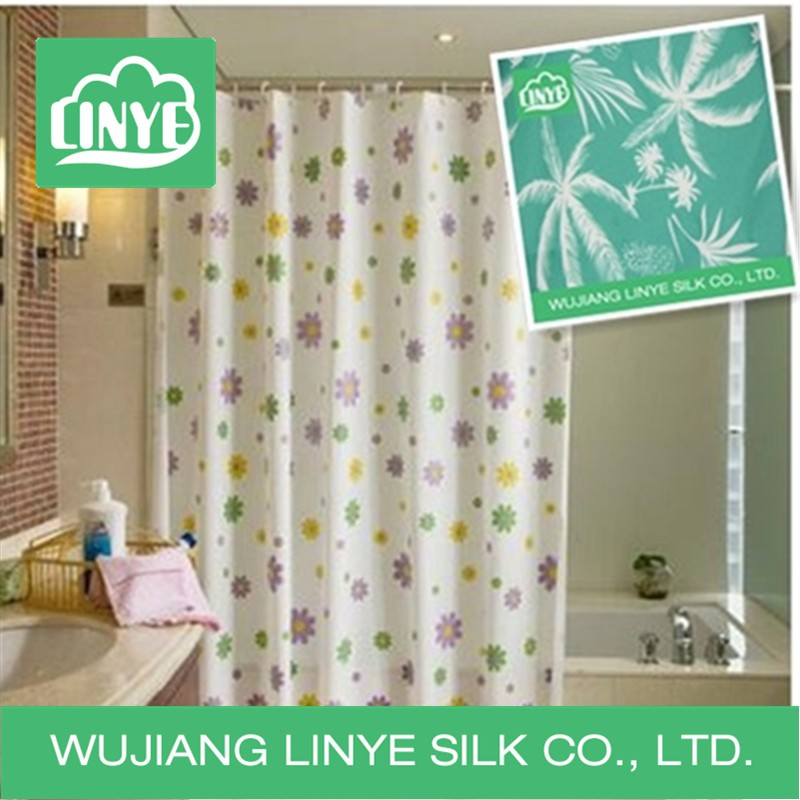 waterproof effect shower curtain with fabric in China