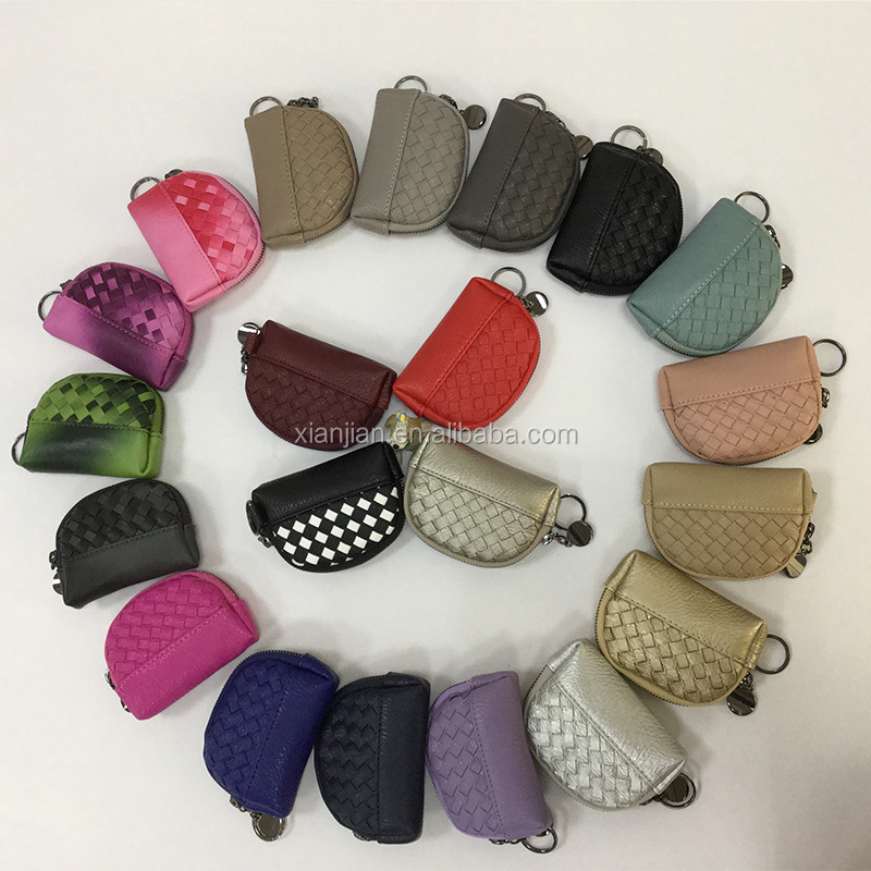 Elegant Lady PU Leather Woven Round Coin Purse (LCHWP25)