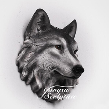 Hot Selling Indoor Decoration Wall Decor of Resin Wolf Head
