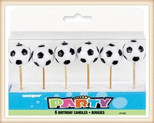3D SOCCER (FOOTBALL) Party 6 Birthday Pick CANDLES (Party/Decoration)