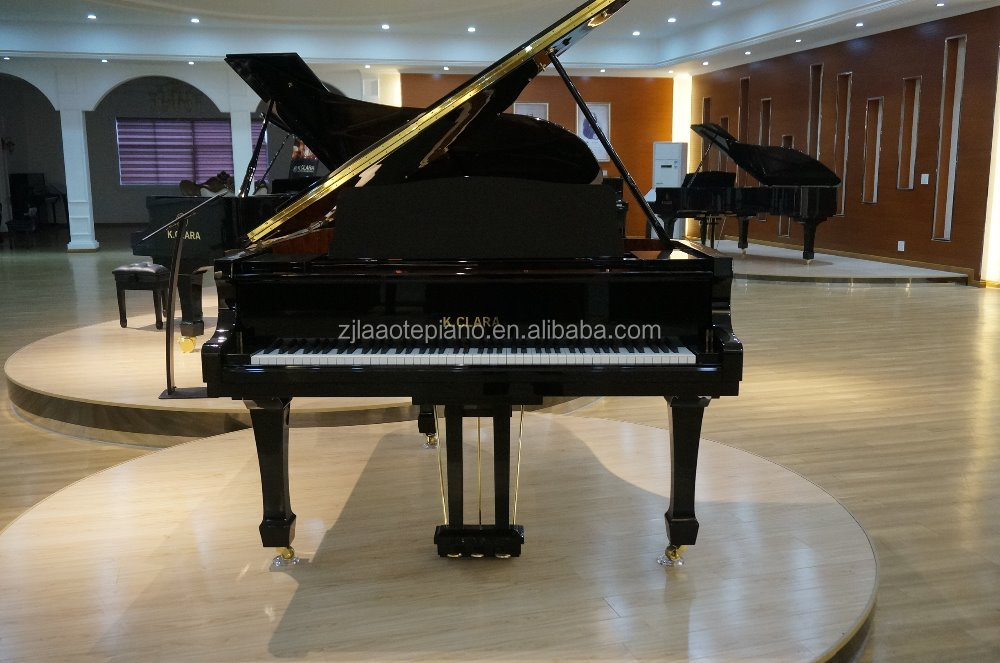 Austria brand piano for sale 186cm length black polished concert wooden grand piano prices with adjustable piano stool for free
