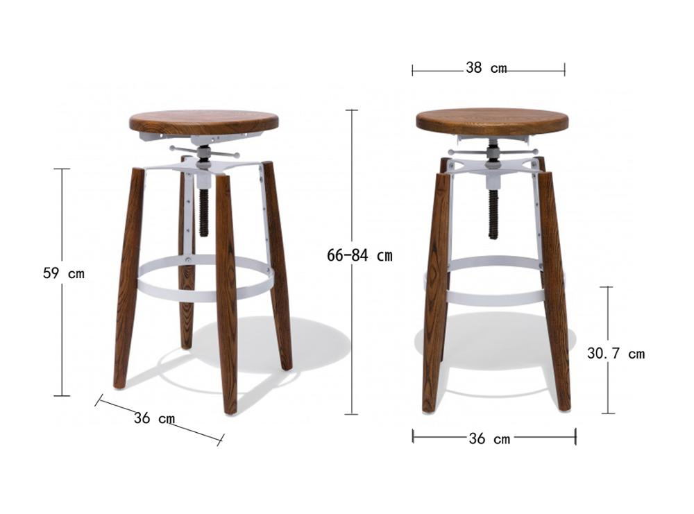 Hot Sale Wooden Seat Bar Stool Round Seat Adjustable Bar Stool