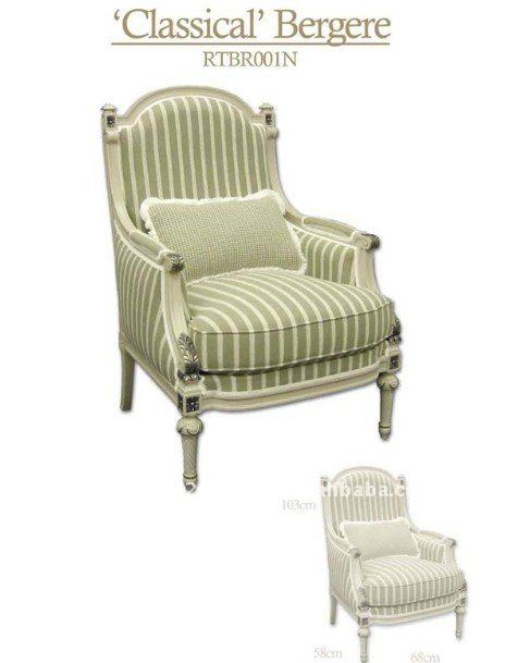 Light Green Stripe Wood Handmade Classic French Hotel Chair