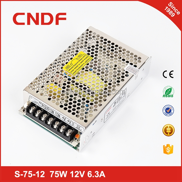 CNDF factory industrial CE approved 2 years warranty 75W 6.3A 12VDC single output ac to dc switching power supply