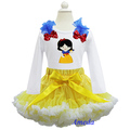 Girl Yellow White Pettiskirt Embroidered Snow White Princess Tee Shirt Party Dress 1-7Y