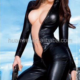Sexy zipper leather catsuit open sexy girl full body Leather Nightwear
