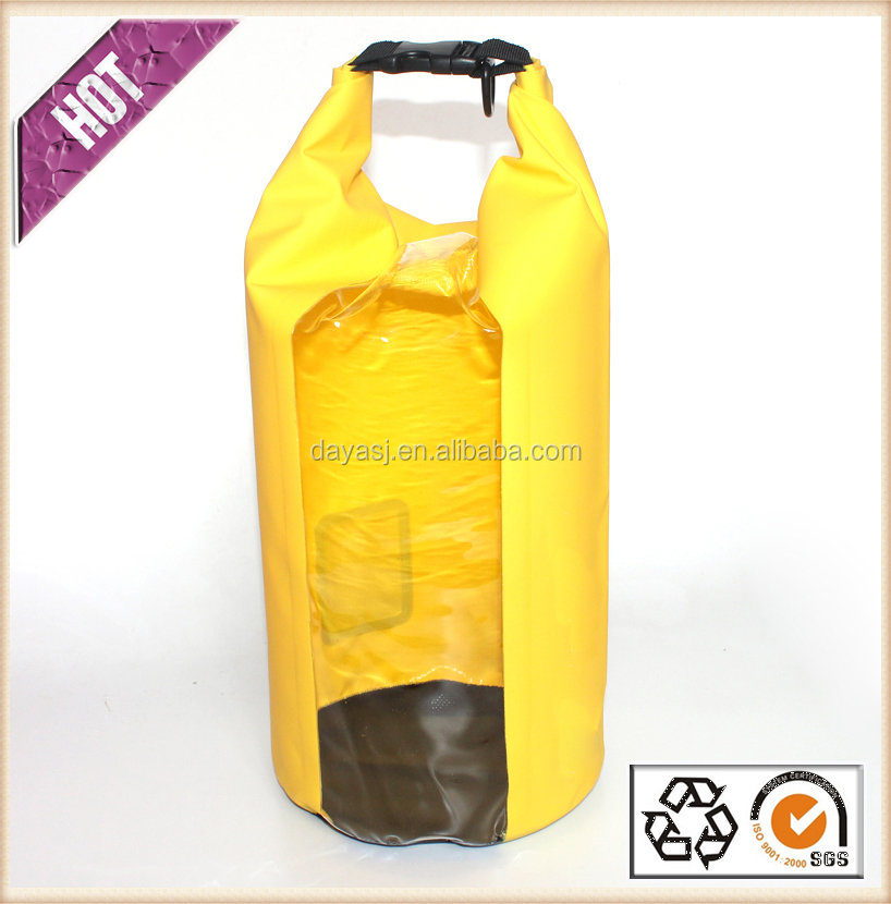 High Quality Transparent Window Dry Bag 500D PVC Tarpaulin 100% Waterproof Bag For Outdoor Sports Camping
