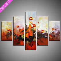 wall sticker modern group flowers art paintings on stretched canvas