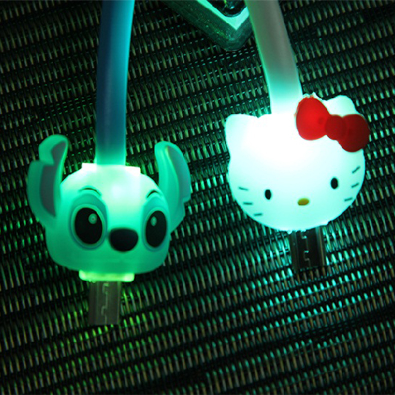 LED cartoon flashing retractable connector sync data micro usb cable for iphone