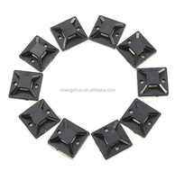 10PCS 20X20mm Self Adhesive Cable Wire Zip Tie Mounts Mounting Base Clamps Clip