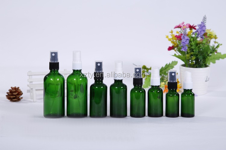 clear/cobalt blue/amber/green spray essential oil glass bottle with pump sprayer