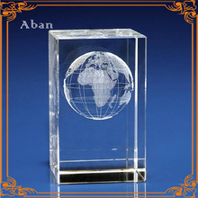 3D laser engraved crystal block for souvenir award