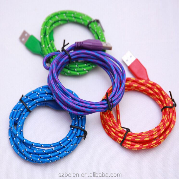 Fábrica de China 3Ft/6Ft/10Ft nylon trenzado micro cable USB, Cable de datos USB para Android 10 colores disponibles