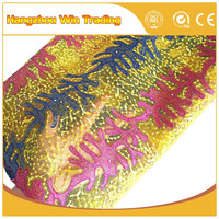 China product fashion material new arrival yellow lace beautiful fabric for dresses