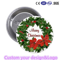 Custom Christmas Tin Badge Button Pin badge pin button with your design