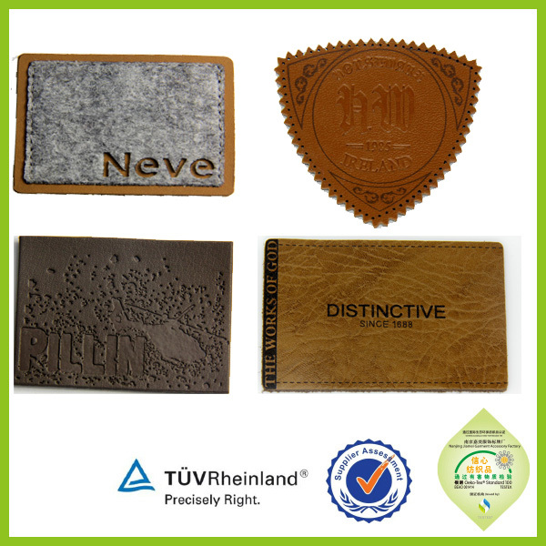 China manufacturer cheap wholesale jeans brown leather patch