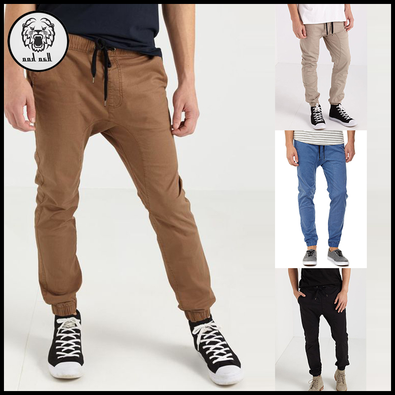 Multi color custom elastic waist chino jogger pants twill sweat pants men