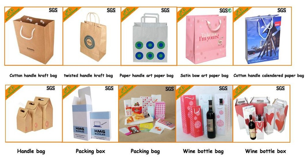 Newly Logo printed advertising food paper carrier bags