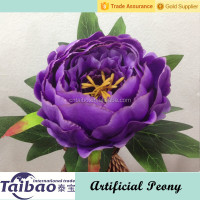 Single stem big head purple artificial silk peony flowers wholesale