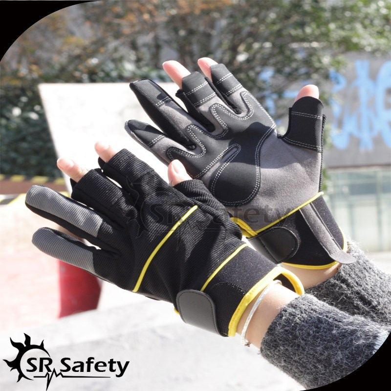 SRSAFETY 2015 racing gloves/Fingerless Synthetic Leather Sewing Mechinest Work Glove/fishing hand glove