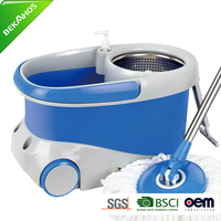 Magic Spin Mop With Stainless Steel Spinner And Big Wheels - Blue And Grey Online Shopping India