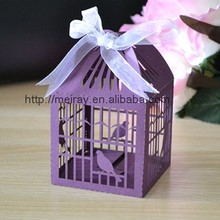 laser cut cage favors,sweet bird cage favor boxes for wedding,cadbury purple favour box