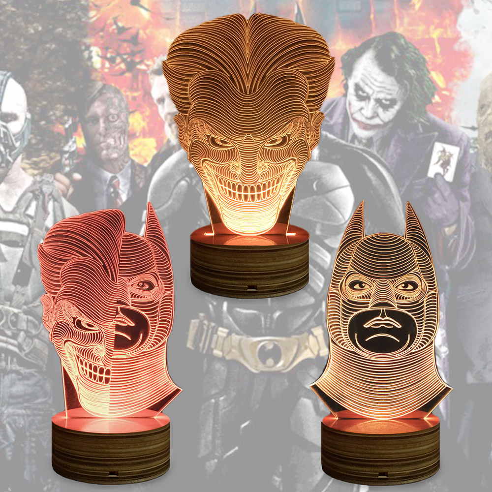 OEM Dropship The Dark Knight Batman Joker Two-Face 3D Illusion Lamp Led Night Light With Color Changing Wood Base Indoor Light