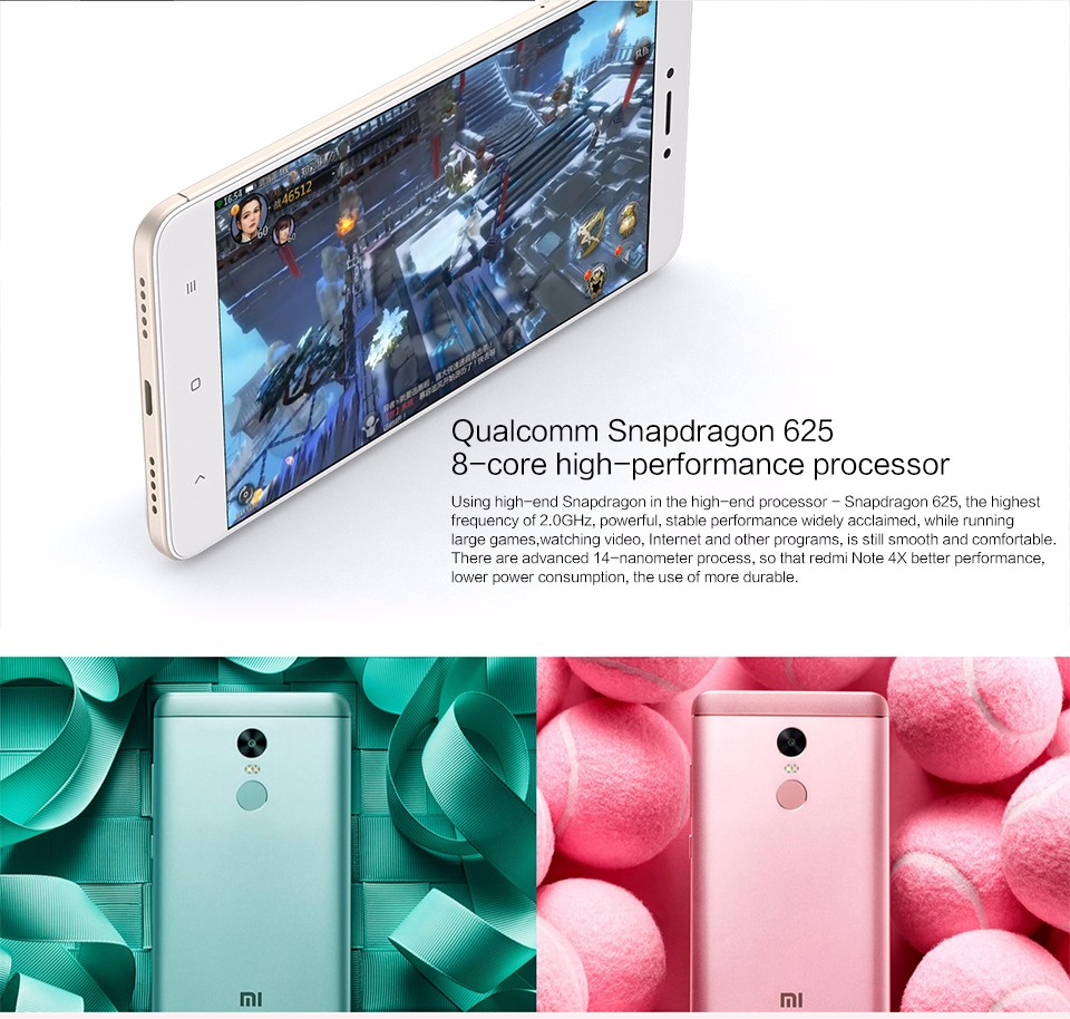 "Wholesale Newest Xiaomi Hongmi Redmi 4X Smart Phone with 5.5 ""10 80P MIUI 8 32GB Snapdragon 625"