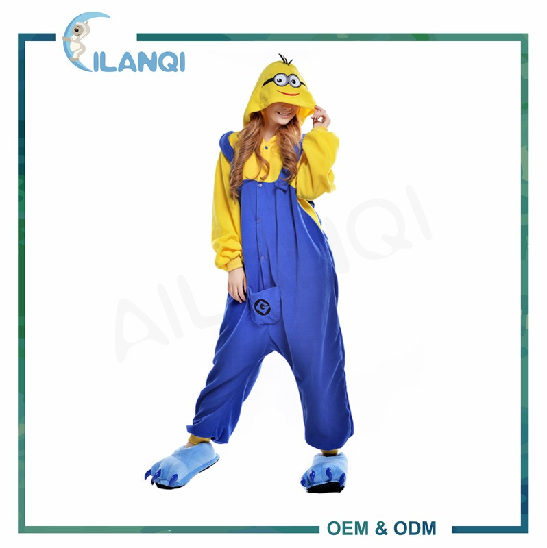 ALQ-A037 Unisex cartoon minions hooded flannel adult character pajamas