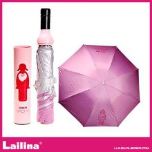 Promotional Women's Fashion Wine Bottle Umbrellas Rain Pink