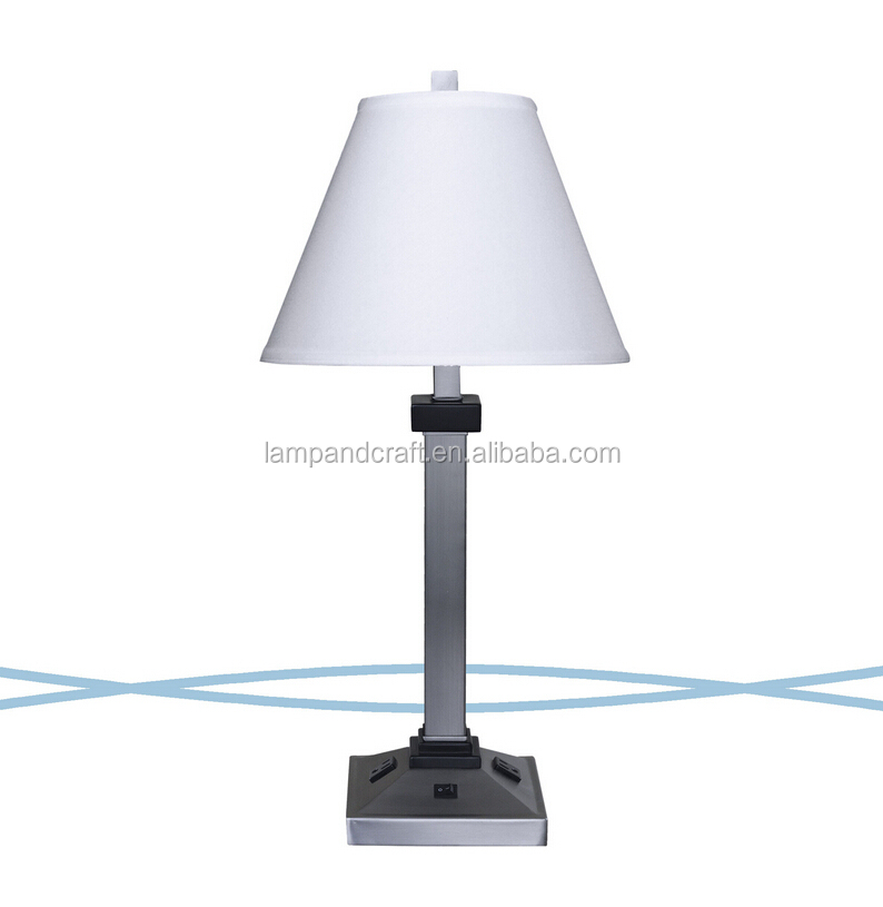 base buy modern metal table lamps power outlets hotel table lamps. Black Bedroom Furniture Sets. Home Design Ideas